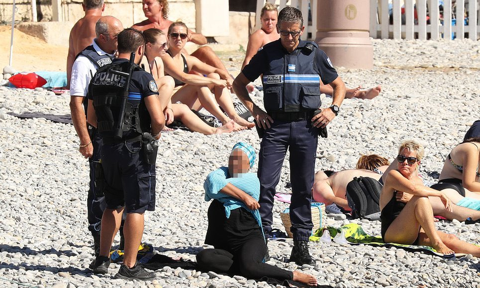 Is it ISIS, Taliban or Saudi moral police?  NO, it's white French men with guns targeting Muslim women #BurkiniBan https://t.co/DRRYfP9vGM