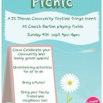 #EXEStThomas Community Picnic in Cowick Barton Playing Fields from 4pm - 6pm on Sunday 04 September 2016. https://t.co/WAvCtyomwL