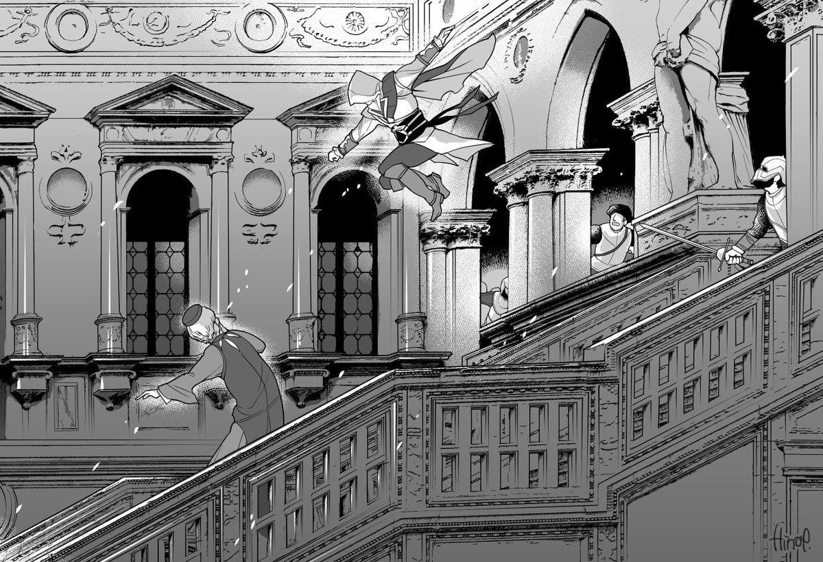 イタリアで撮った写真をクリスタで線画抽出してえちおを描き足す遊び。  ヴェネツィア、ドゥカーレ宮殿 #AssassinsCreed https://t.co/HJPM2ISyUi
