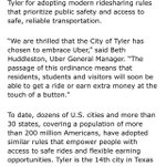 Statement from @Uber regarding citys new ride share rules @kytxcbs19 @Tylerpaper https://t.co/S5fpDb75Bq