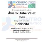 Este sábado en El Retiro y Marinilla diálogo sobre el plebiscito con él expresidente @AlvaroUribeVel https://t.co/p0E4xkQTh3