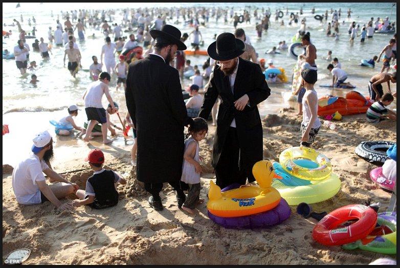 I seriously would like to know what an Orthodox Jewish Man or Woman would do, if demand that they disrobe @ Beach? https://t.co/j7INbYCWZh