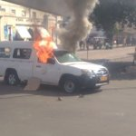 Breaking News: #Police #ZBC vehicles burnt as #Demo turns nasty #ZimbabweSituation #twimbos #ThisFlag https://t.co/iSNl6pJ8sx