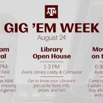 #GigEmWeek: Its a full day in Aggieland! Free 🍦, prizes, a movie in Rudder, & much more! 👍 https://t.co/h7yMaecchj https://t.co/TOE3jkLCC4