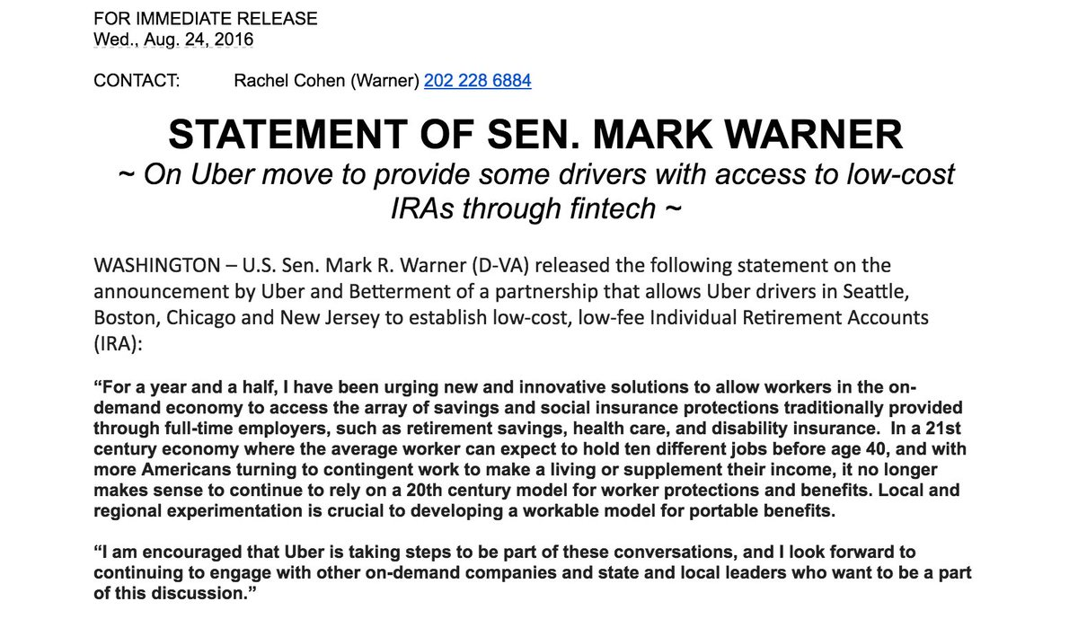 Love seeing this note from Senator @MarkWarner re: @Uber and @Betterment. https://t.co/pTr9U0NrVc