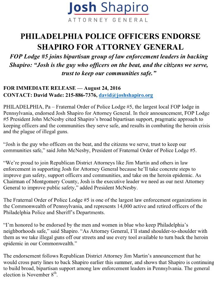 BREAKING: Extremely proud and honored to be endorsed for Attorney General by the Philadelphia Police Officers. https://t.co/3wsbQEBs7s