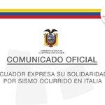 COMUNICADO: #Ecuador expresa su solidaridad por el sismo ocurrido en #Italia ➡https://t.co/AQM1rfQt2N⬅ https://t.co/CJUyTmO8MG