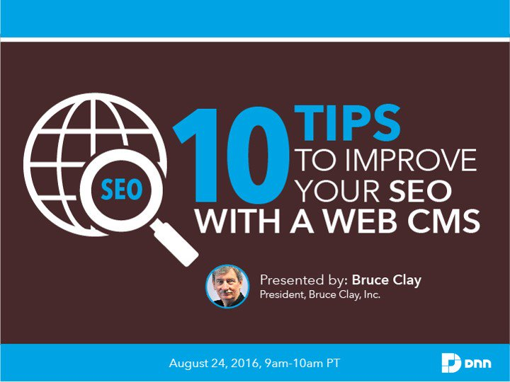 Today's webinar at 9 a.m. Bruce Clay unleashes #SEO strategy for your Web CMS. https://t.co/asBa6tO6yi @DNNCorp https://t.co/p51cOGywUn
