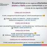 Compatriotas en regiones afectadas por sismo en #Italia pueden comunicar su situación en los siguientes canales: https://t.co/P9h4pmu90j