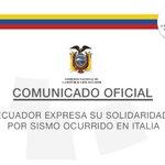 Ecuador expresa su solidaridad a Italia por las víctimas del sismo ocurridoanoche https://t.co/S2wBYeQh3d https://t.co/vdMOCNakm9