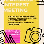 Are you interested in joining yearbook? Come to the interest meeting this Sunday at 6 at the USM Office! https://t.co/fhe55voSEX