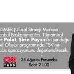 Em.Tüma. Soner Polat, yarın 21.00de CNN Türkte TSKnın Cerablus operasyonunu değerlendirecek. #KoridoraTSKHançeri https://t.co/MR5k4ObQ80