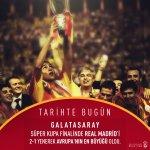TARİHTE BUGÜN | Galatasaray, Süper Kupa finalinde Real Madrid'i  2-1 yenerek Avrupa'nın en büyüğü oldu. https://t.co/8V1IEGYwHG