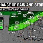 Front drifts south tomorrow. Slight chance of storms in OKC. Severe threat low. Highs in the low 90s. @NEWS9 #okwx https://t.co/e0Nfg3E3xm