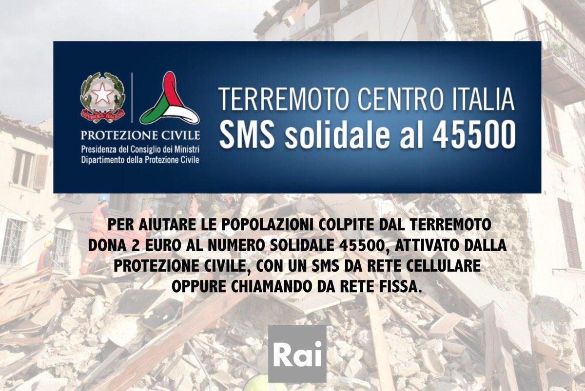Per aiutare le popolazioni colpite dal terremoto dona 2 euro al numero 45500, attivato dalla Protezione Civile https://t.co/dCLnd7L6IY