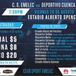 Este viernes 7:30 pm, Emelec recibe a @DCuencaOficial en el Alberto Spencer. Estos son los precios y puntos de venta https://t.co/AGqCfkc99f