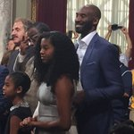 Kobe Bryant and his daughters listen to the accolades on #KobeDay https://t.co/JvBGwvr2wl https://t.co/dQ7ZL2OieI