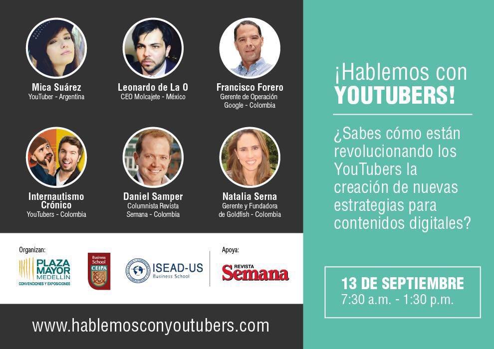 Todos ellos nos acompañarán el 13 de septiembre para que #HablemosConYouTubers ¡Inscríbete! #SomosOrganizadores https://t.co/PjzehtyrD9