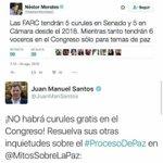 Que NO tendrían curules directas en el Congreso decían... Que Álvaro Uribe estaba loco y que exageraba decían... https://t.co/dEufEGsuuc
