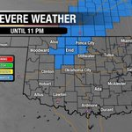 """NEW: Severe T-storm WATCH until 11pm for blue counties in north central OK. 1.5"""" hail & 70mph winds. #okwx @NEWS9 https://t.co/1gsn7zjOze"""