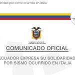 Ecuador expresa consternación por víctimas de terremoto en Italia y ofrece ayuda humanitaria►https://t.co/kqM6U11xtF https://t.co/GcOjkKdIrP