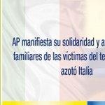 .@35PAIS manifiesta solidaridad y afecto con familiares de víctimas del terremoto en Italia ➡https://t.co/aMuoZ5gZdZ https://t.co/YZWWI7sCR5