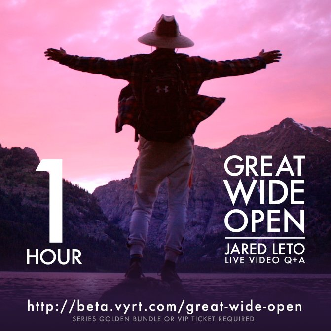 RT @VyRT: Only 1 HOUR 'til our Live Video Chat with @JaredLeto! Get Access with a Golden Bundle: https://t.co/4VrH9PBciJ https://t.co/co0Ua…