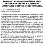 #LoÚltimo Gobierno pide examen forense y pericia balística para determinar causas y autoría de muerte de minero https://t.co/FVyBSmUccP