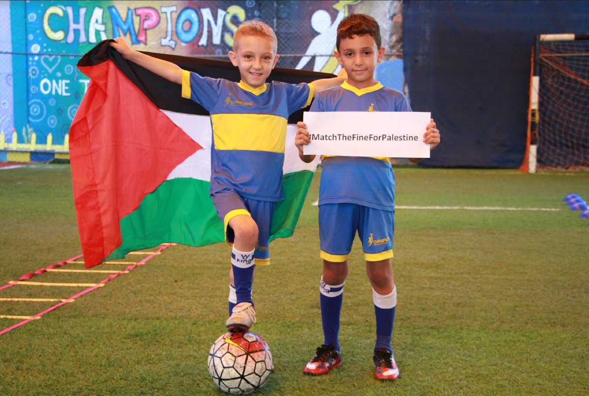 Gaza's young footballers send a big message of thanks to everyone who has supported #MatchTheFineforPalestine https://t.co/3YVP79BuiJ