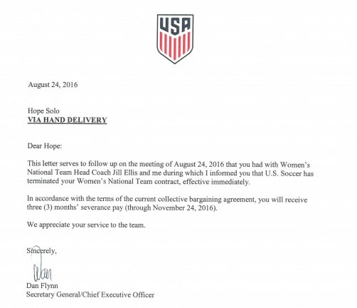 This is the letter informing Hope Solo her contract with the USWNT has been terminated. https://t.co/MtYwV9S6ed