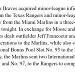 The Atlanta Braves, Miami Marlins and Texas Rangers completed a trade today. Details: https://t.co/zSx9IklbzD