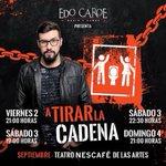 ATENTOS BAGUALES! Entre los RT se van a ir 2 entradas dobles para el domingo 4 en @Teatro_NESCAFE !! #ATirarLaCadena https://t.co/eFQn2v6gad
