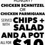 Team schnitzel or team parmigiana? #Townsville #cheapeats #food #special #dealoftheweek #savemeaspot #hungry #yum https://t.co/0967pEyV5V