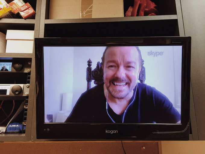 A huge thankyou to @rickygervais for cohosting with us this morning. Check out Life on the Road, in cinemas today!
