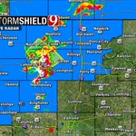 """5:50pm- NEW severe storm over Enid moving NE. Tons of lightning, 70mph gusts, and 1"""" hail possible. #okwx @NEWS9 https://t.co/Ts3Ug27Av5"""