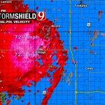 6:21pm- Radar est. velocity showing around 70mph winds between Garger & Alcorn. Storm moving NE. #okwx @NEWS9 https://t.co/08Zlv3MxKl