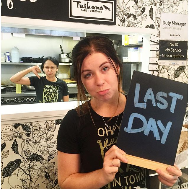Thursday 25 August, 12:05 p.m. - Come and have a coffee or lunch , And say bye to Hannah on her last day #sad #whatyougonnado