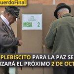 """El Plebiscito para la paz se realizará el próximo 2 de octubre"": @JuanManSantos https://t.co/RDr8VIXpZ7 https://t.co/fkzyQEe4ZW"