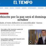 El plebiscito por la paz será el domingo 2 de octubre: Santos https://t.co/efX09JpUE1 @ELTIEMPO https://t.co/mj7AS69Z5k