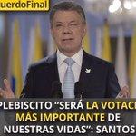 """""""El plebiscito """"será la votación más importante de nuestras vidas"""": Santos https://t.co/RDr8VIXpZ7 #AcuerdoFinal https://t.co/naveY9lpUw"""