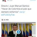 Pocas veces somos noticia mundial agradable. Así nos ve hoy el mundo: #PazenColombia https://t.co/RwisiQwJlf