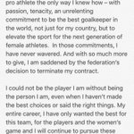 "Every single ""woman"" on the #USWNT who isnt outraged by Hope Solos SIX Month ridiculous suspension is a 👉🏻 COWARD! https://t.co/PEJqGUdb89"