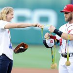 #WATCH: @katieledecky throws out first pitch as Nats host Orioles https://t.co/6hYG5ekN5I https://t.co/P1ItyNNW0e