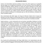 Declaración Pública de Bomberos de Chile ante lamentables opiniones del geógrafo Marcelo Lagos. https://t.co/zXDaHoUEkx