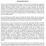 Declaración Pública de Bomberos de Chile ante lamentables opiniones del geógrafo #MarceloLagos. https://t.co/ggyErNucdD