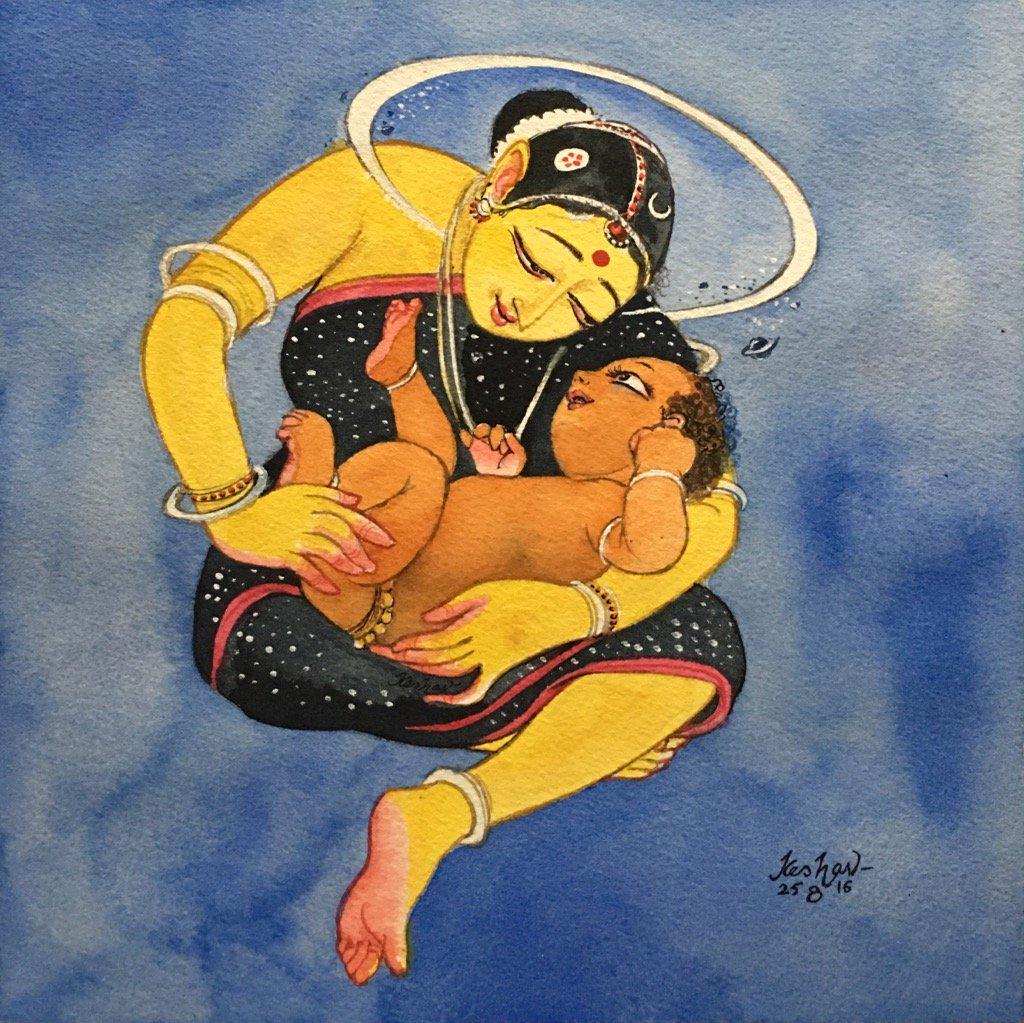 Krishna looks at Yashoda, and beholds the universe. #watercolour #krishnafortoday https://t.co/FXshTjICvs