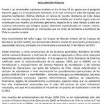 DECLARACIÓN PUBLICA de @BomberosdeChile en RECHAZO por opinión del Geógrafo Marcelo Lagos en @T13 @reddeemergencia https://t.co/gjvF4zQ5zP
