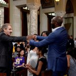 What day is it? #KobeBryantDay in #losAngeles! City Atty Feuer w/ colleagues honoring a #lakers legend! #BlackMamba https://t.co/aVnlgl3jxP