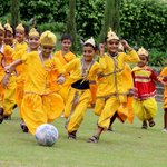 Children dressed as #LordKrishna participate in #football match during #Janmashtami celebration in Patiala Photo:PTI https://t.co/GcM2dyGhNX