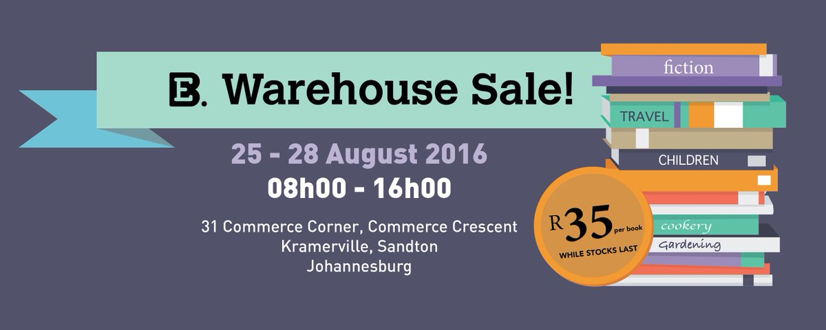 The Warehouse Sale is in full swing! Make sure to stop by & find some great reads for only R35 each! #IGotItForR35 https://t.co/eBe2p3OPpU